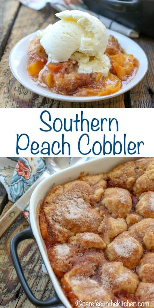Southern Peach Cobbler | Barefeet in the Kitchen