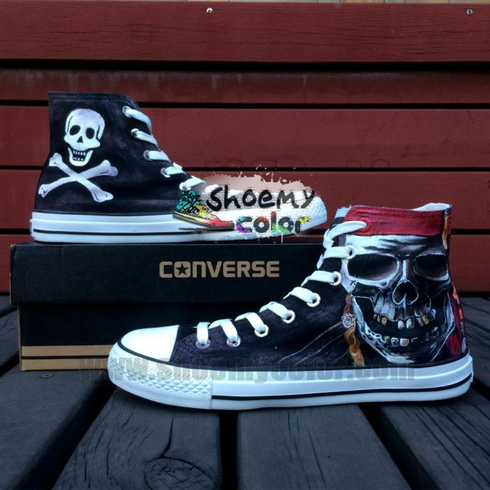 Black Roger Converse Canvas Pirate Jolly Top Painted High Hand ITw71qBxv