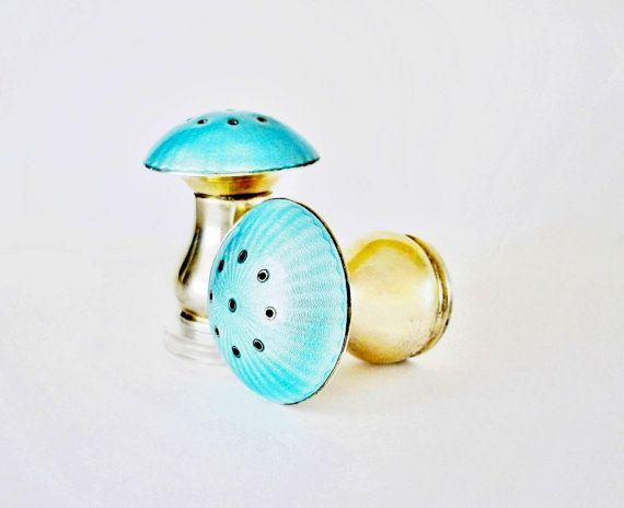 Sterling Silver Guilloche Enamel Figural Salt & Pepper Shaker Set, Aqua Blue Color, Signed - Ela Denmark, Hallmarked