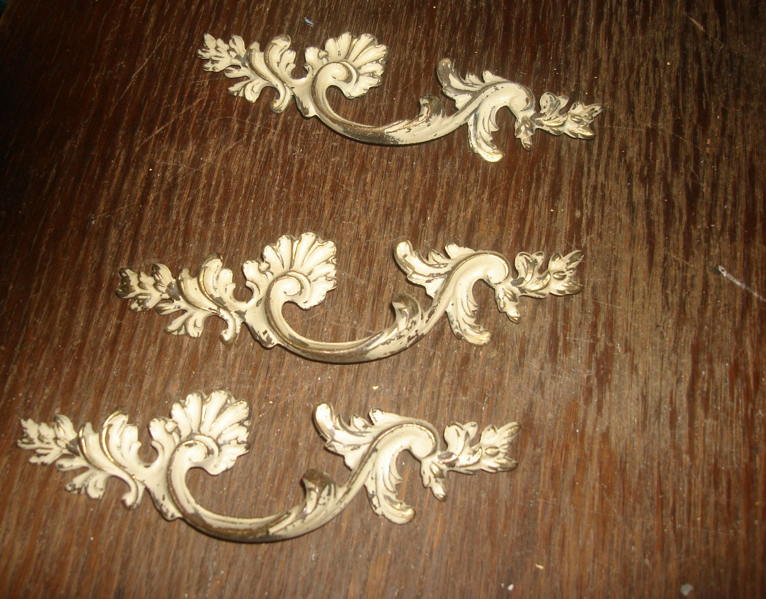 Antique drawer pulls fancy french white and solid brass pulls ...