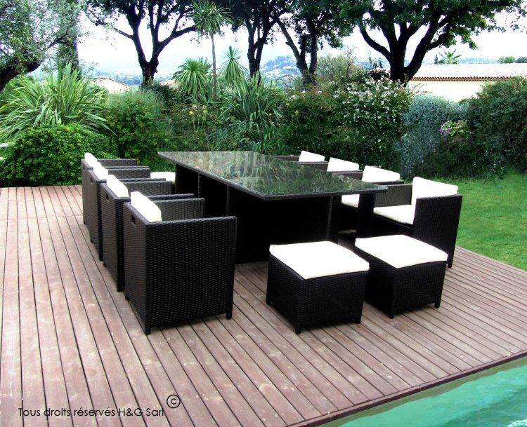 Salon De Jardin 12 Places Encastrables Noir Exterieur Outdoor