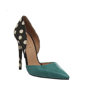 Office Panther 2 Part Court Spot Jade Leather High Heels