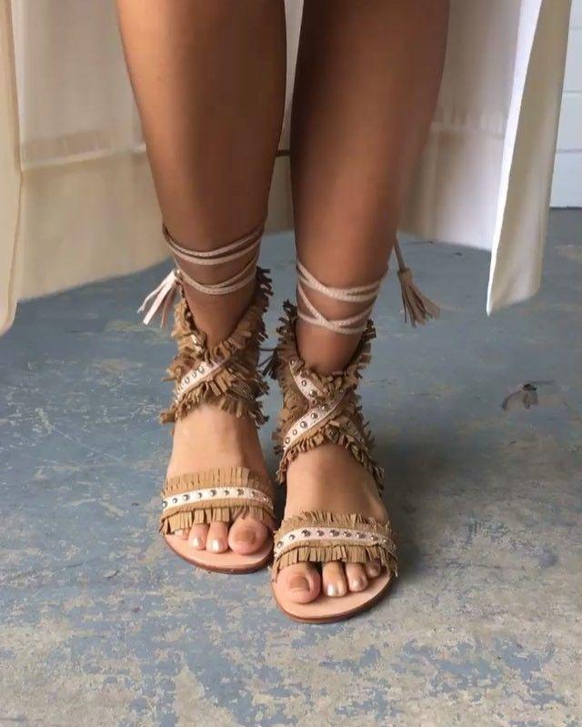 3c0af56eeba90 Saigon Suede and Studded Wrap Sandals