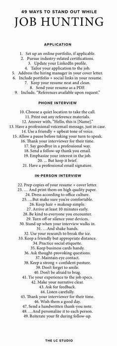 49 Ways To Stand Out During The Interview Process Interview - interviewing tips