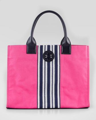 c6e442eef2ca Tory Burch Ella Striped Canvas Tote Bag pink + navy   )
