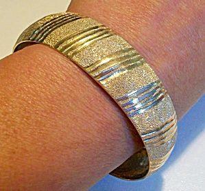 448 Wide 10k Gold Bangle Bracelet Flexible Textured Polished Image1