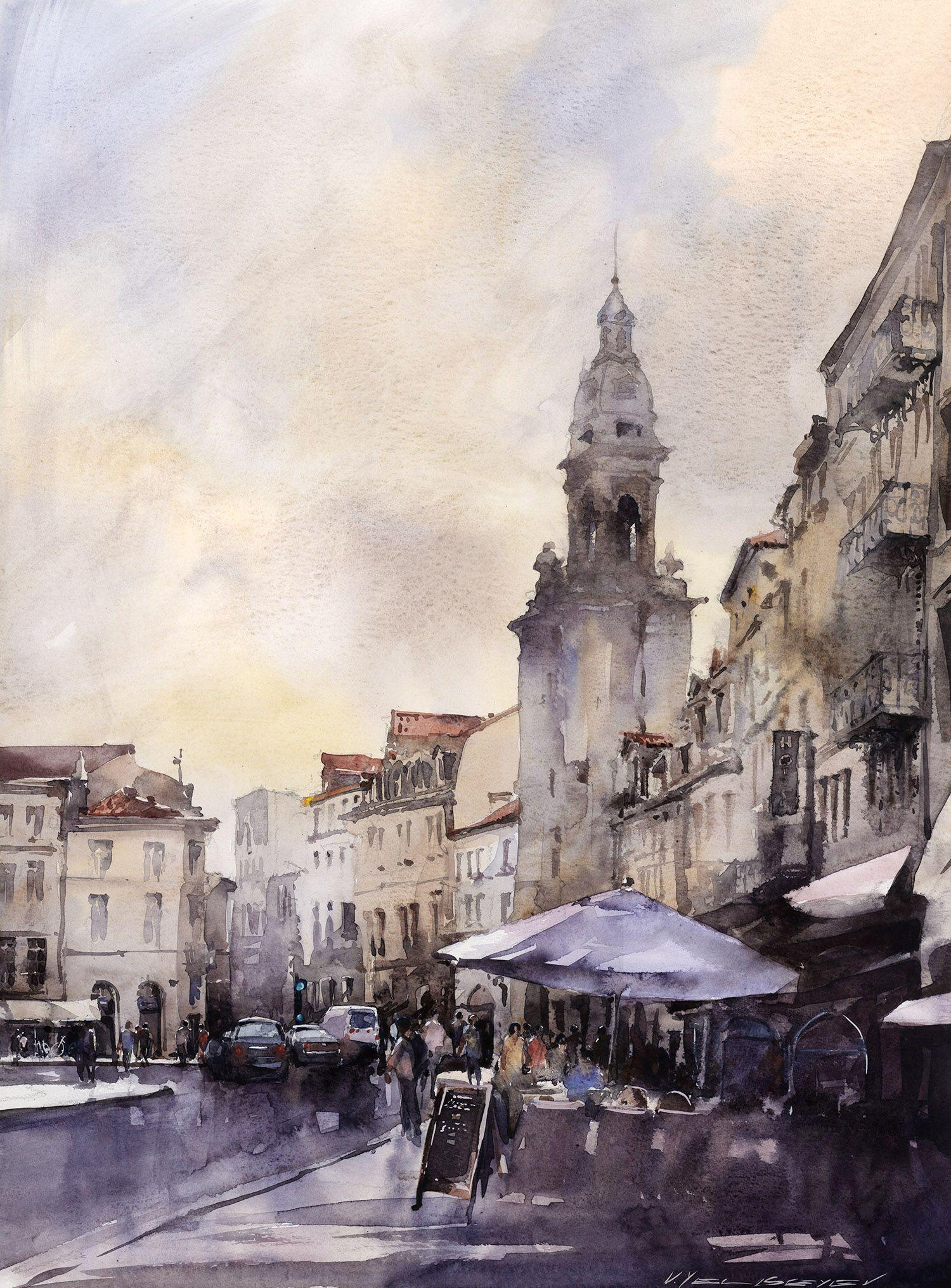 Artist Vladislav Yeliseyev Watercolor France La Rochelle