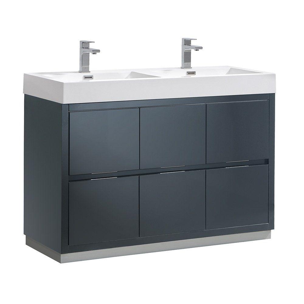 Fresca Valencia 48 Dark Slate Gray Free Standing Double Sink