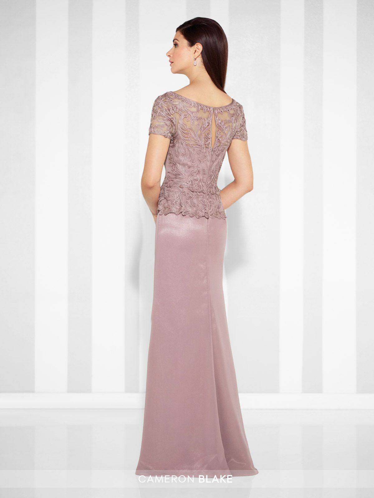 de1585b0d07a Cameron Blake - 117609 - Chiffon and ribbon work sheath gown with short  sleeves, illusion scoop neckline, ribbon work bodice with peplum at natural  waist, ...
