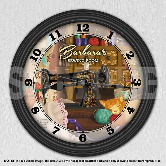 Sewing Machine Personalized Wall Clock Sewing Room Craft Etsy In 2020 Personalized Wall Clock Personalized Wall Craft Room Decor