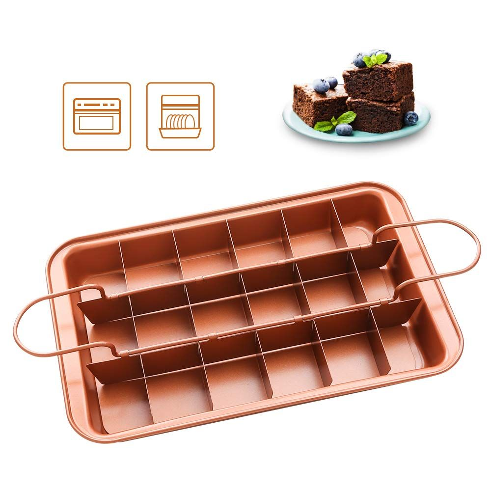 Shineuri Brownie Pan With Dividers Copper Steel Non Stick Baking