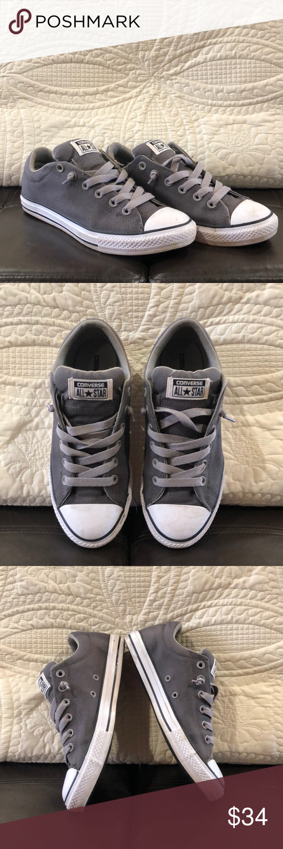 Converse All Star gray tennis shoes Size 6 in boys men 9c226c8715