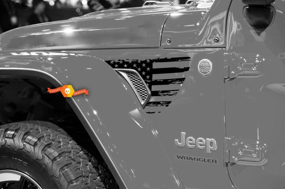 Pair Of Jeep Gladiator Side Jt Wrangler Jl Jlu Gravity Destroyed Flag Usa Style Fender Vent Blackout Vinyl Decal Sticker Gr In 2020 Car Decals Vinyl Jeep Wrangler Jeep