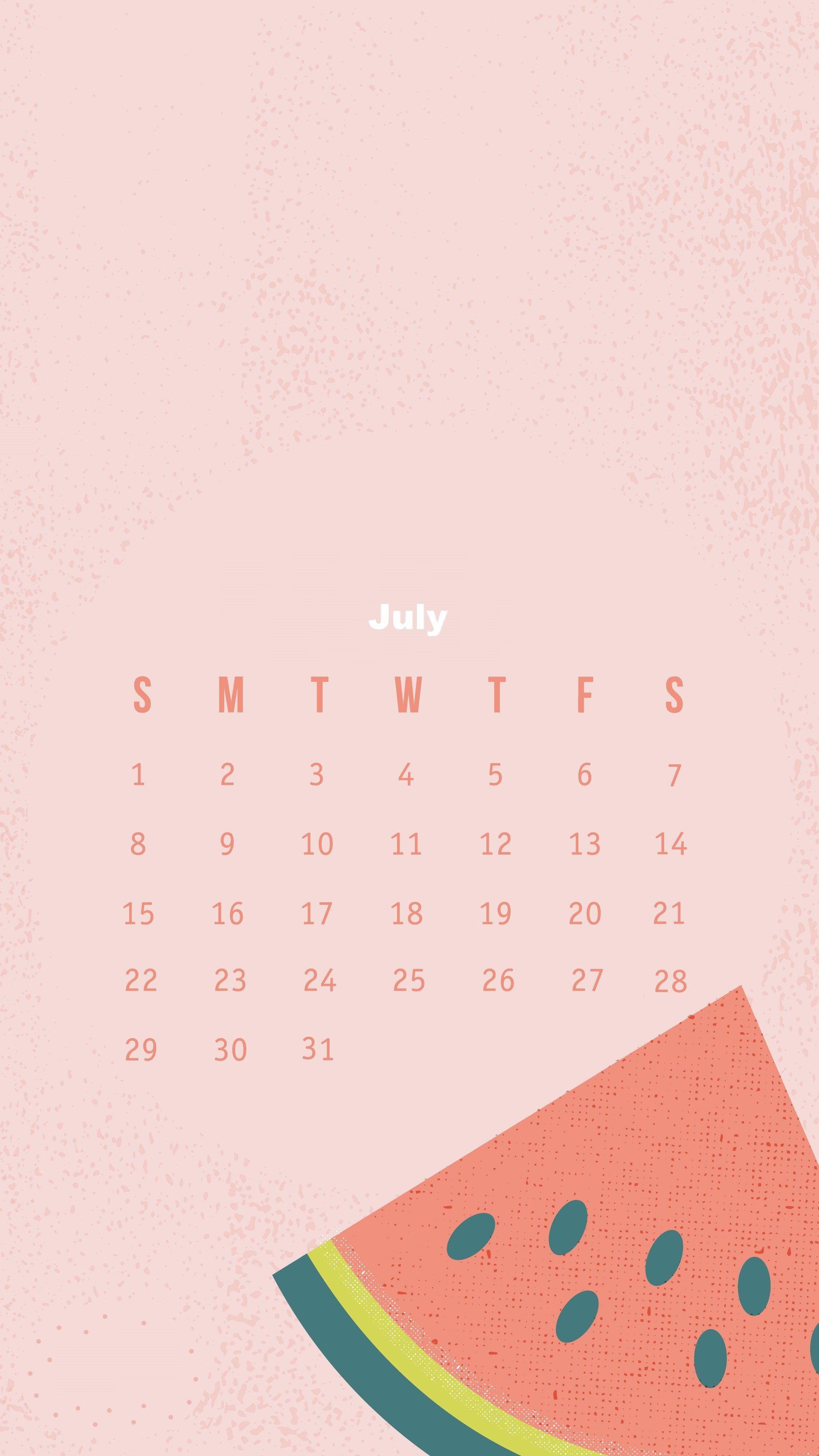Calendar Iphone Wallpaper : July iphone calendar wallpapers