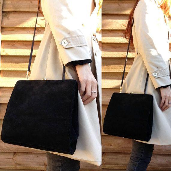 Vtg  BALLY black suede Leather box bag/ handbag by laminuinette