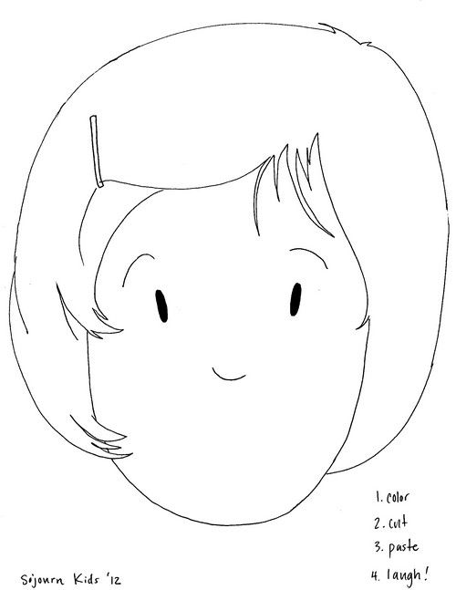girl face template for laugh craft school activities for kids