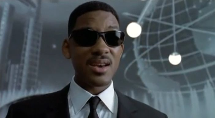 33fefcb8512 Will Smith uses top-heavy frames and curves to soften and balance his square -shaped face with Ray Ban Predator-2 sunglasses