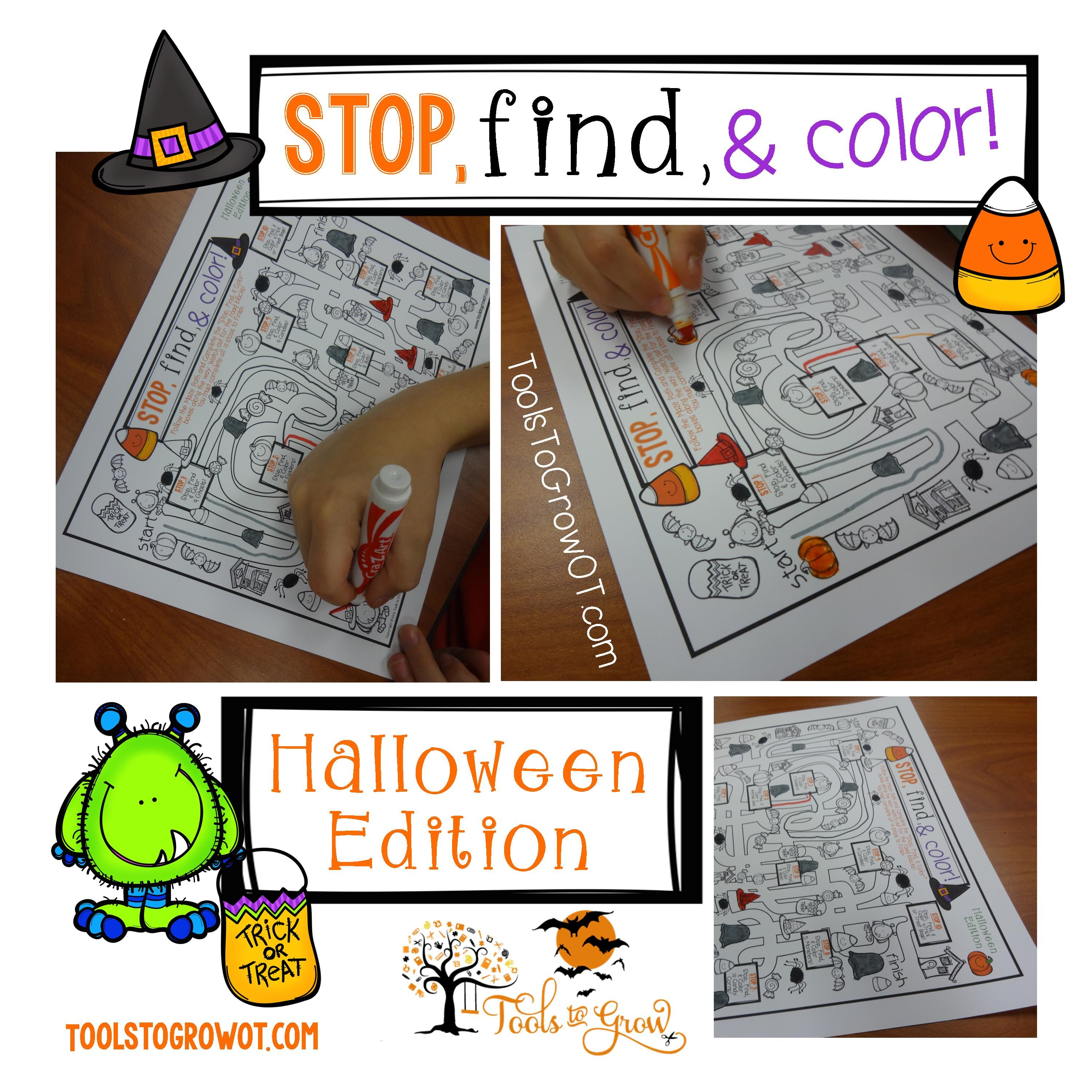 Halloween Fine Motor Integration Stop Find Amp Color Maze
