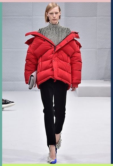 59bc44126 Model wearing a red puffer jacket for Balenciaga AW16