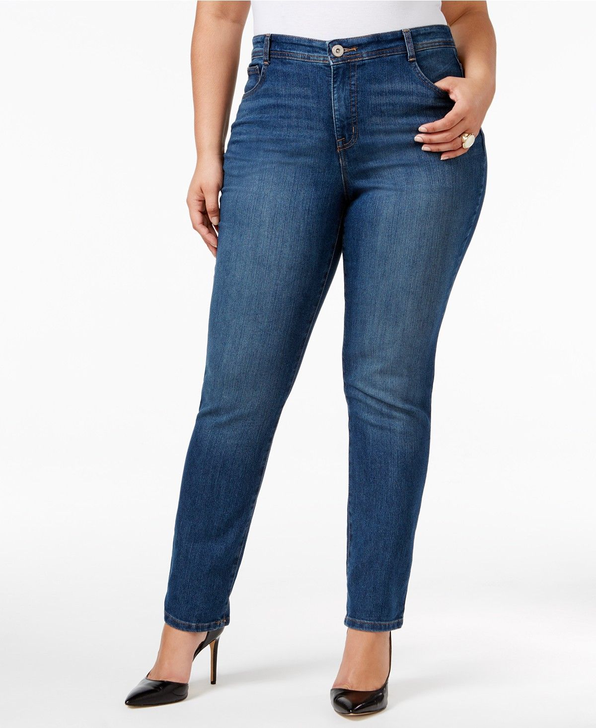 91c65e8f3c2b2 Plus   Petite Plus Size Tummy-Control Slim-Leg Jeans