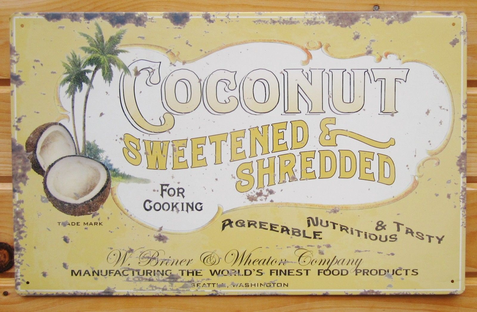 Coconut Tin Sign Metal Wall Decor Vtg Advertising Poster Rustic Palm ...