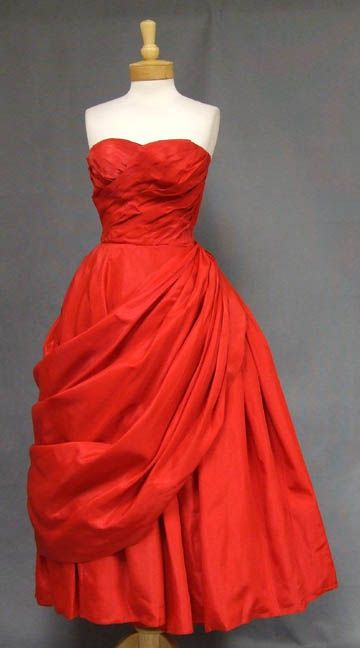 1950's Cherry Red Taffeta Will Steinman Ball Gown w/ Dramatic Drape