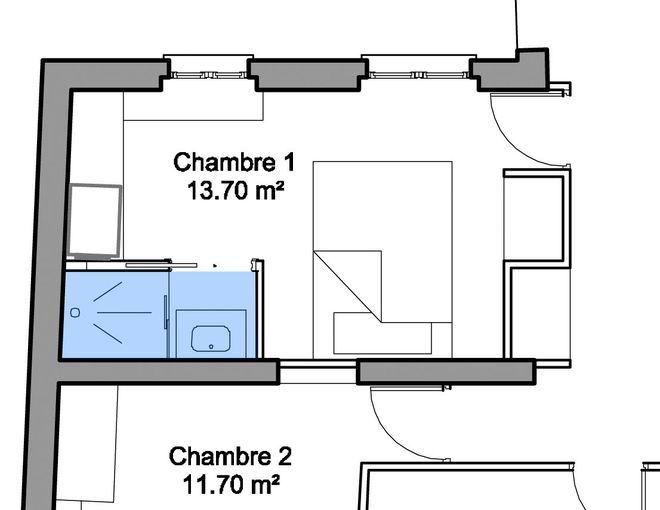 Plan chambre et salle d'eau