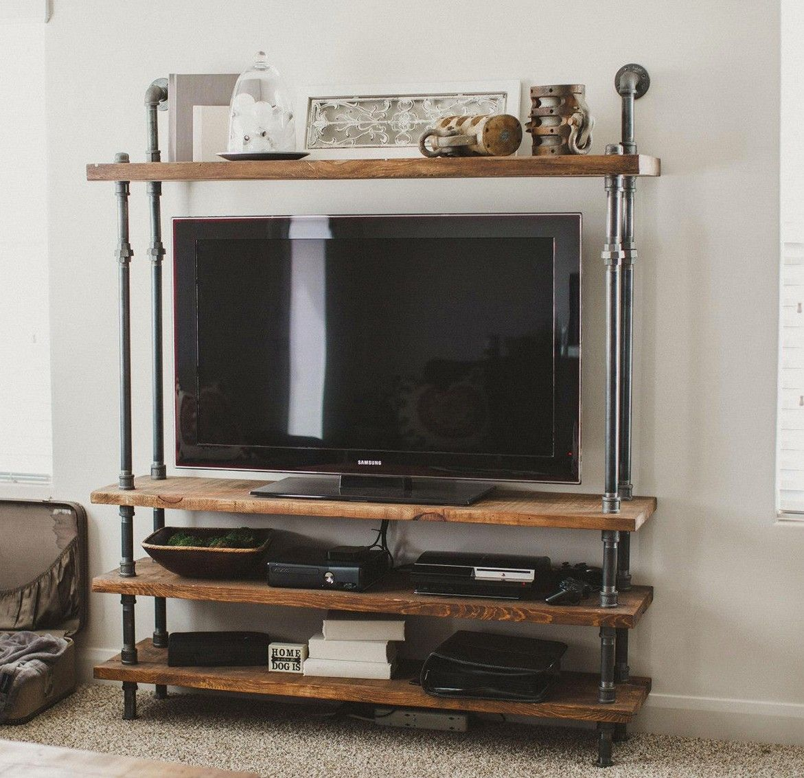 tv accessories stand with wood pipe tuyaux meuble de television meuble