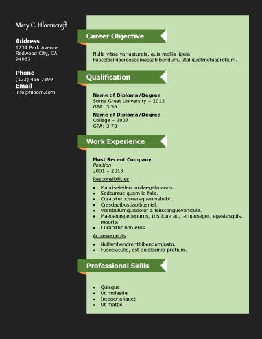 Career Diagram - Free Resume Template By Hloom.Com | Branding