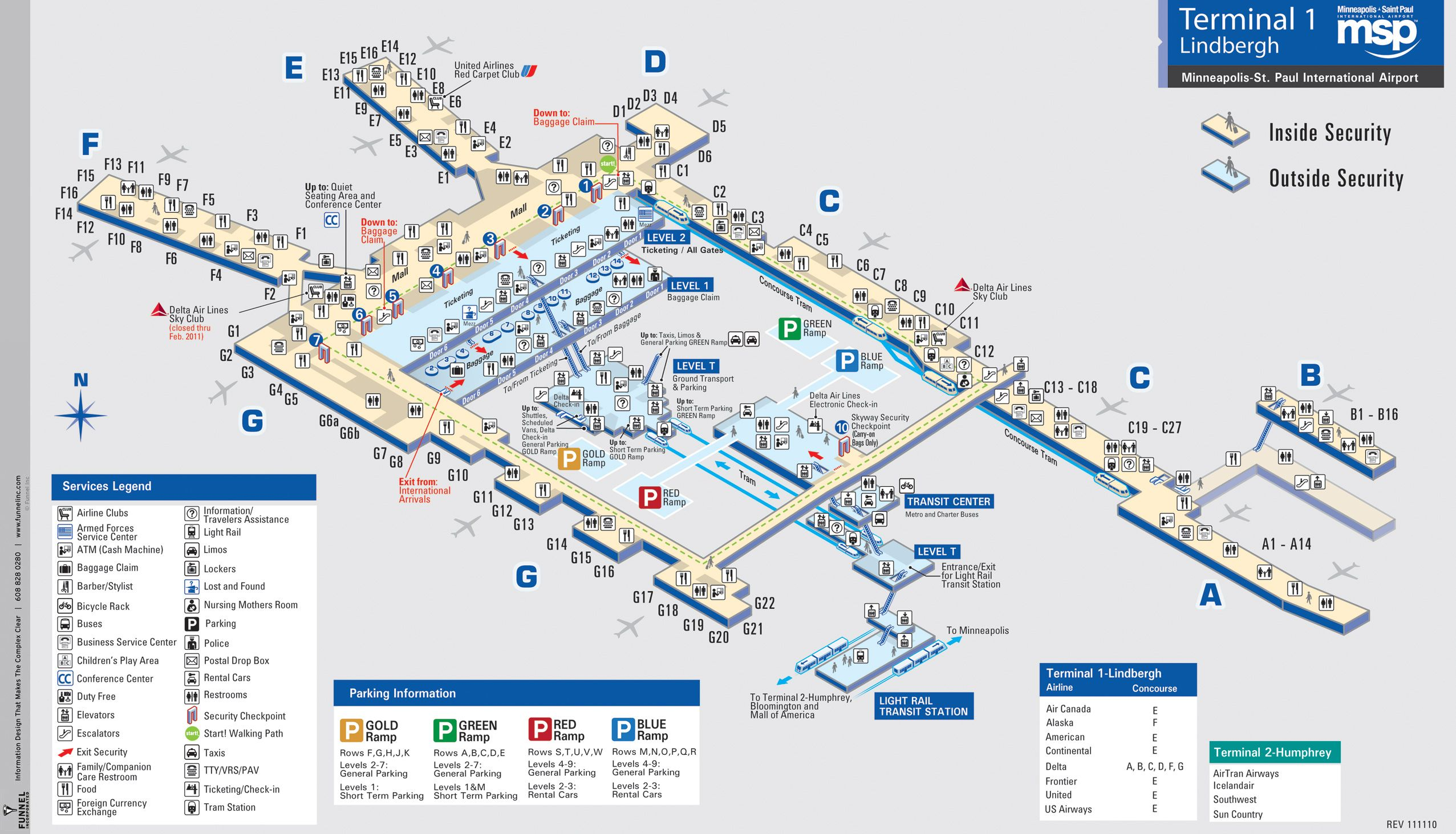 Airport Map of Minneapolis St Paul International Airport Terminal