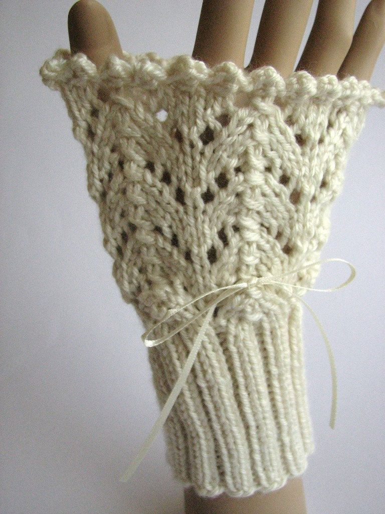 Lace victorian cuffs knitting pattern pdf, handwarmers, lacy ...