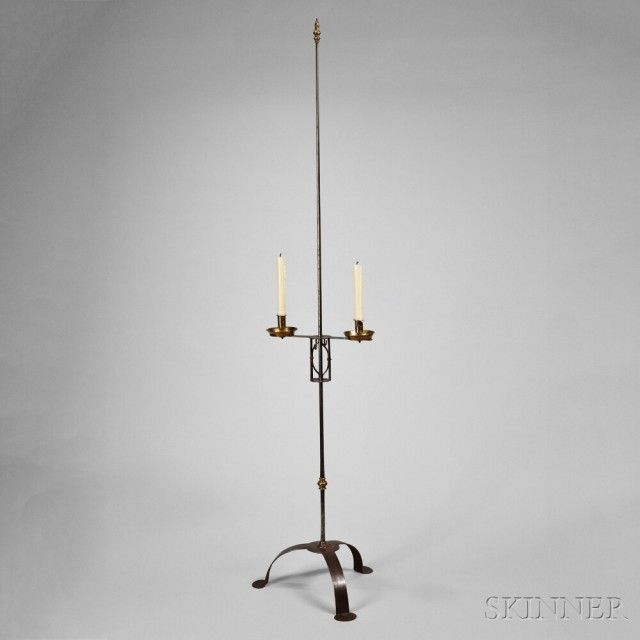 Tall Wrought Iron And Brass Adjustable Two Light Stand America 18th Century Lot 116 Wrought Iron Candle Stand Wrought Iron Old Lamps
