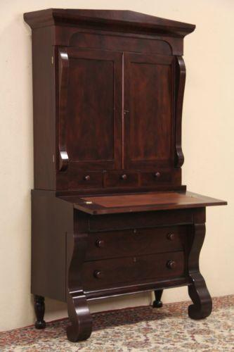 Empire 1840 Antique Mahogany Secretary Desk Bookcase Top