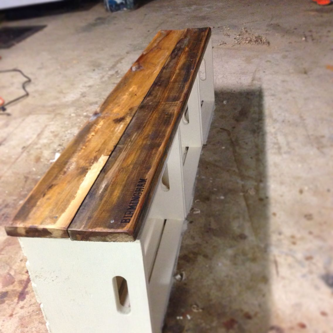 Milk Crate Bench Scrap Wood Projects Crate Bench Milk
