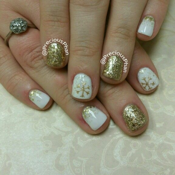 White and gold nails. Ombre loose glitter nails. #PreciousPhanNails ...