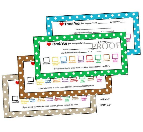 Little Brownie Baker Cookie Thank You Receipt Printable Etsy Girl Scout Cookies Booth Girl Scouts Cookie Receipts