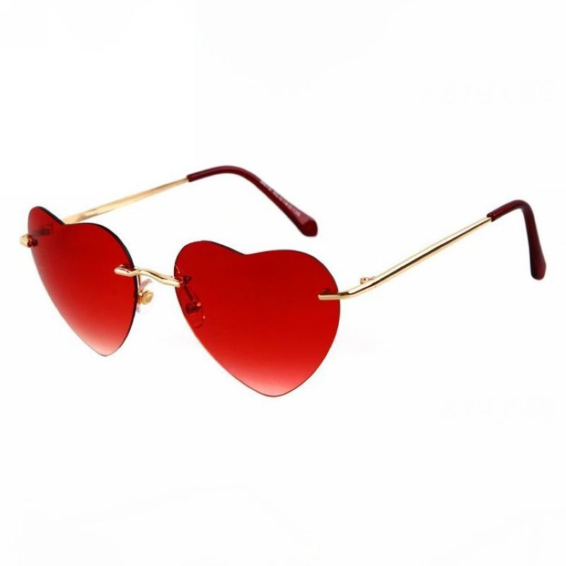 92d1d81c1c Cute Heart Shaped Gradient Rimless Sunglasses Gold Red