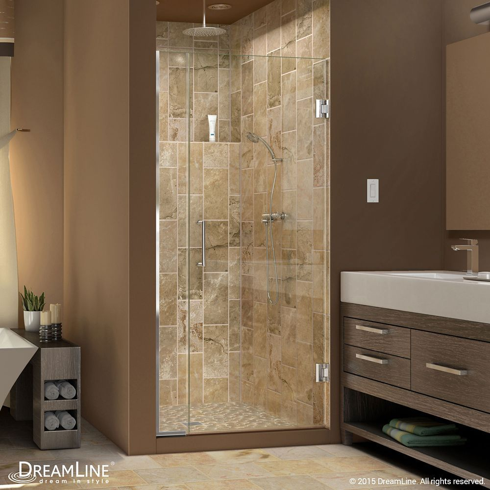 Unidoor Plus 35 1 2 Inch To 36 Inch X 72 Inch Semi Frameless Pivot Shower Door In Chrome With Handle Shower Doors Frameless Shower Doors Frameless Shower