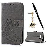 #6: Badalink Galaxy J7 Wallet Case (2016) Flip Folio Stand Case Embossed Lucky Clover PU Leather Case with Slim-Fit Protective Shockproof TPU Inner Bumper Card Slots for Samsung Galaxy J7 - Gray