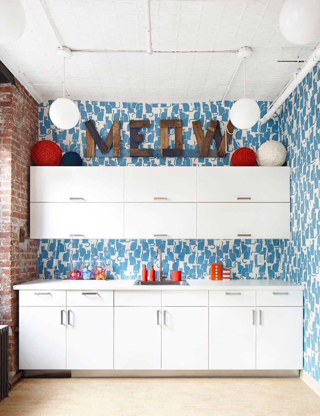 Small white kitchen blue pattern wallpaper   small kitchens ...