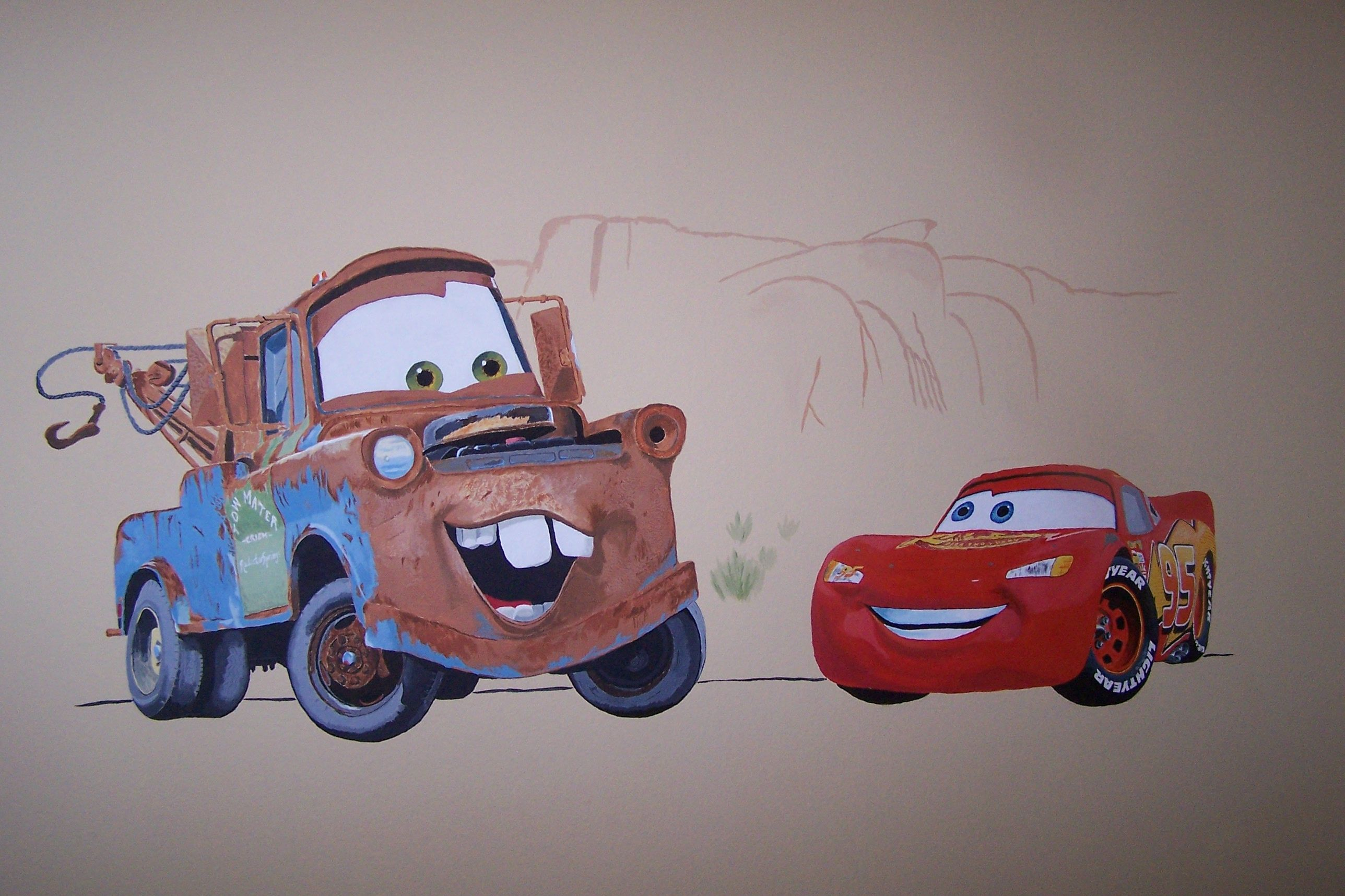 Cars Wall Mural Drawn And Painted By Eric With Lightning Mcqueen And Mater Disney Mural Office Mural Mural