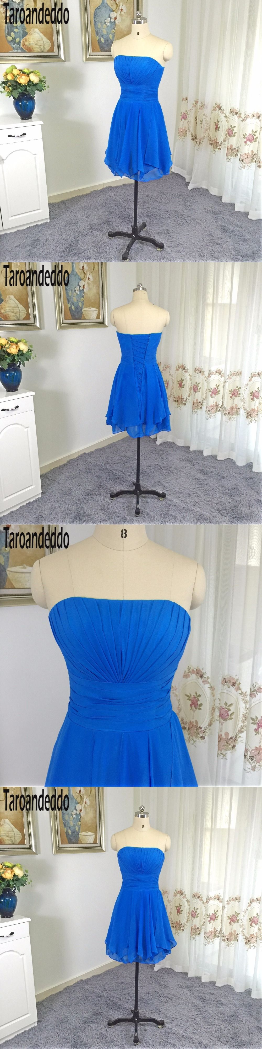 Strapless ruched bodice aline short ruffled chiffon royal blue