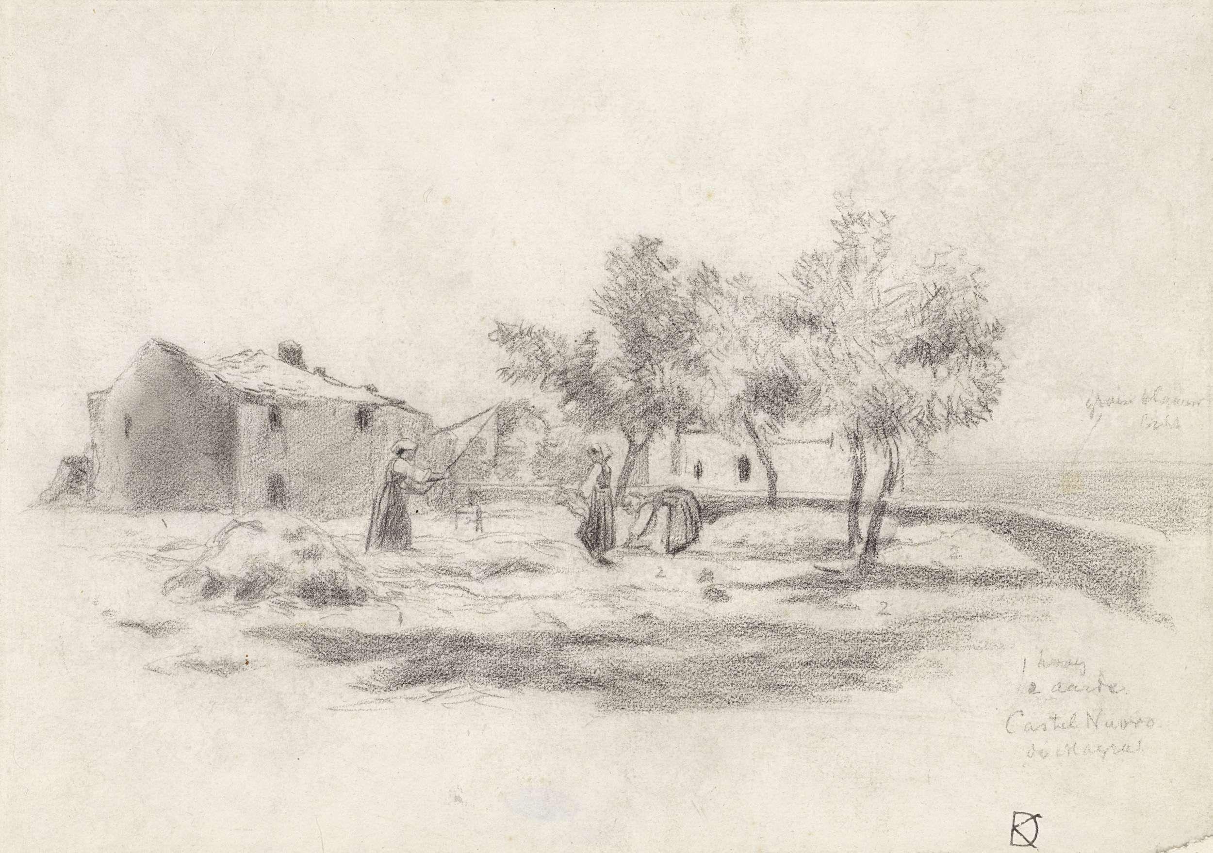 Johan Daniël Koelman   Dorsende vrouwen voor een boerderij in Castelnuovo di Magra te Italië, Johan Daniël Koelman, 1841 - 1857  