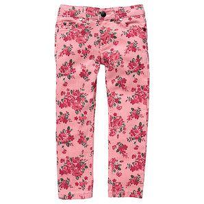 Girls' Floral Print Stretch Skinny Leg Jeans - Geranium Pink
