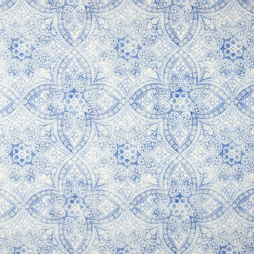 Azure Blue Medallion Made In Usa Upholstery Fabric Pattern Design