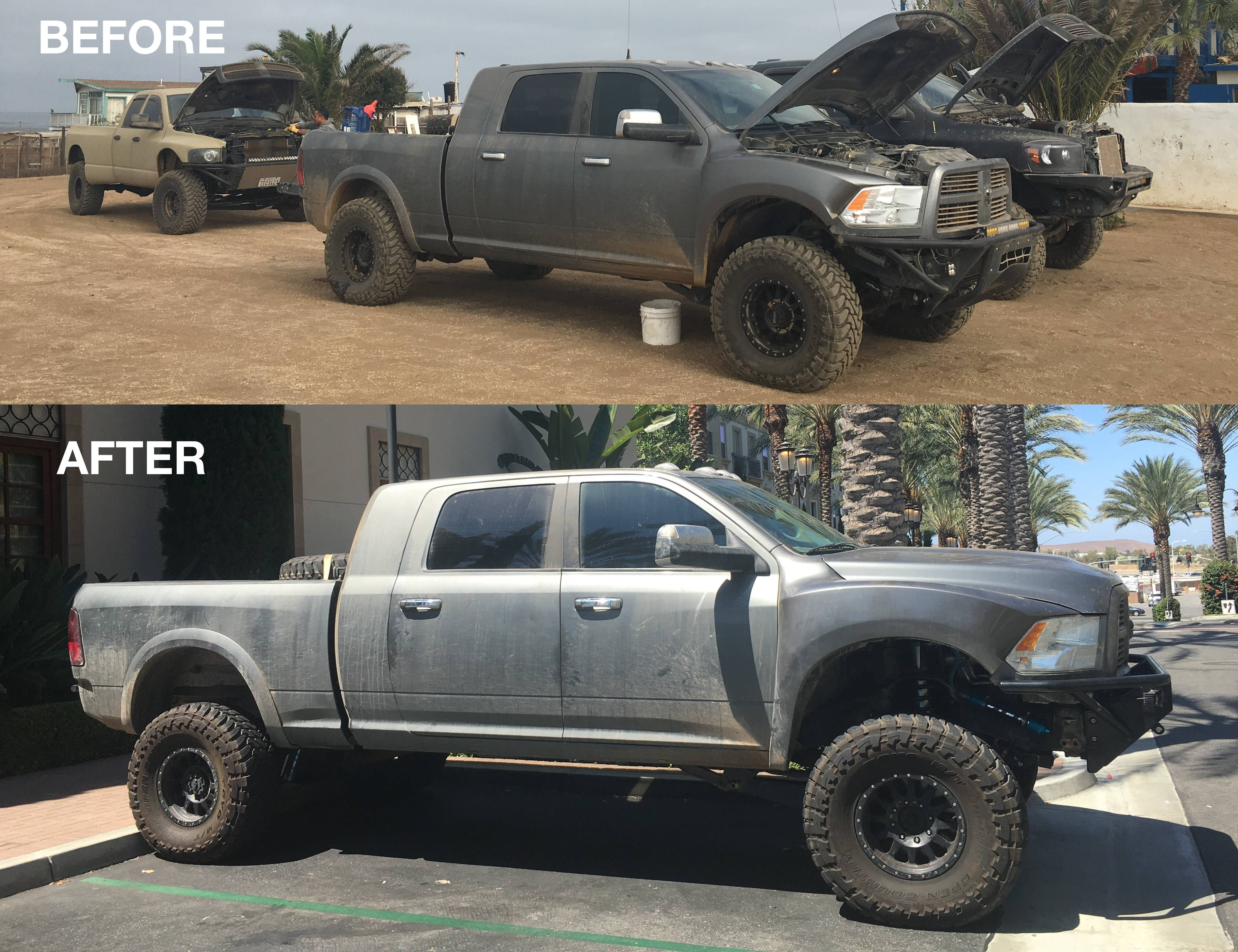 I Packed Up All My Tools And Headed Down To La To Install A Big Set Of New Parts X Post R Trucks 4x4 Offroad Grime Dubst Trucks Work Truck Cummins Motor