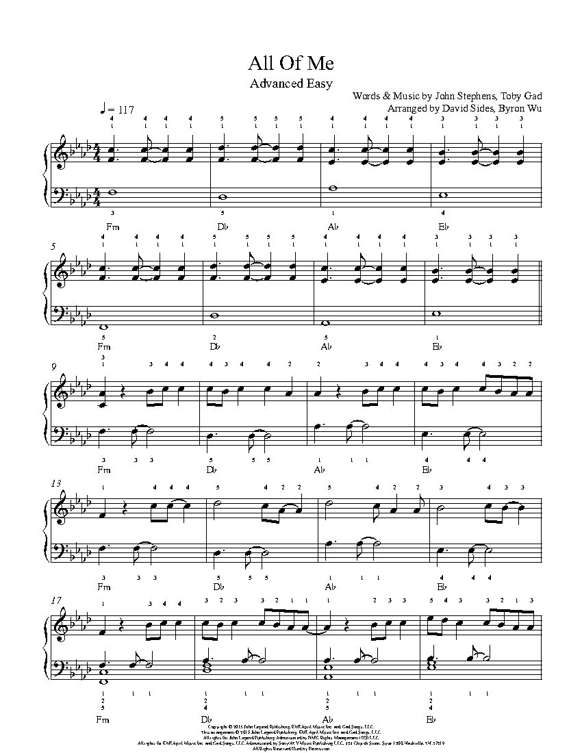 All Of Me By John Legend Piano Sheet Music Advanced Level