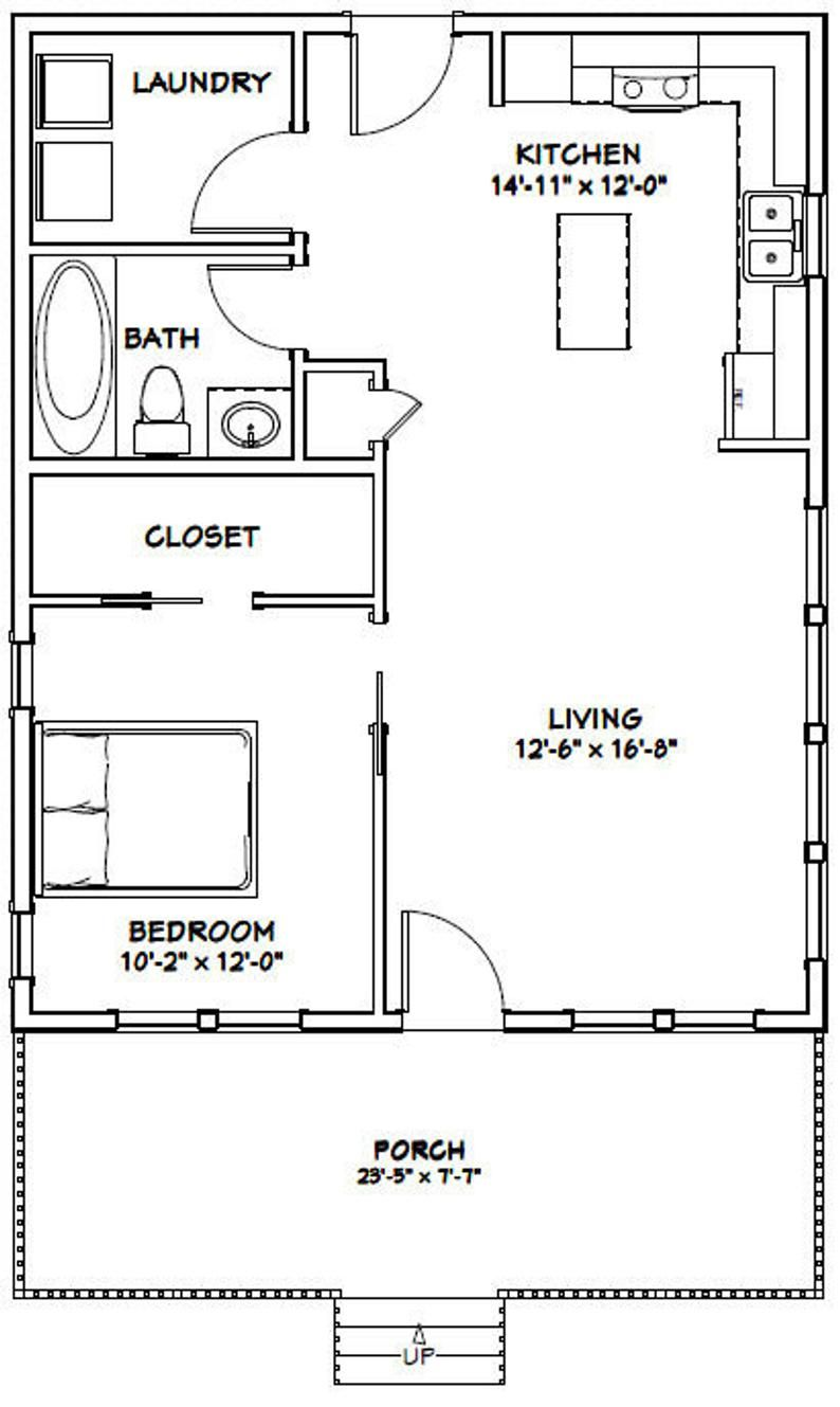 24x30 House 1 Bedroom 1 Bath 720 Sq Ft Pdf Floor Plan Instant Download Model 2d One Bedroom House One Bedroom House Plans 1 Bedroom House Plans