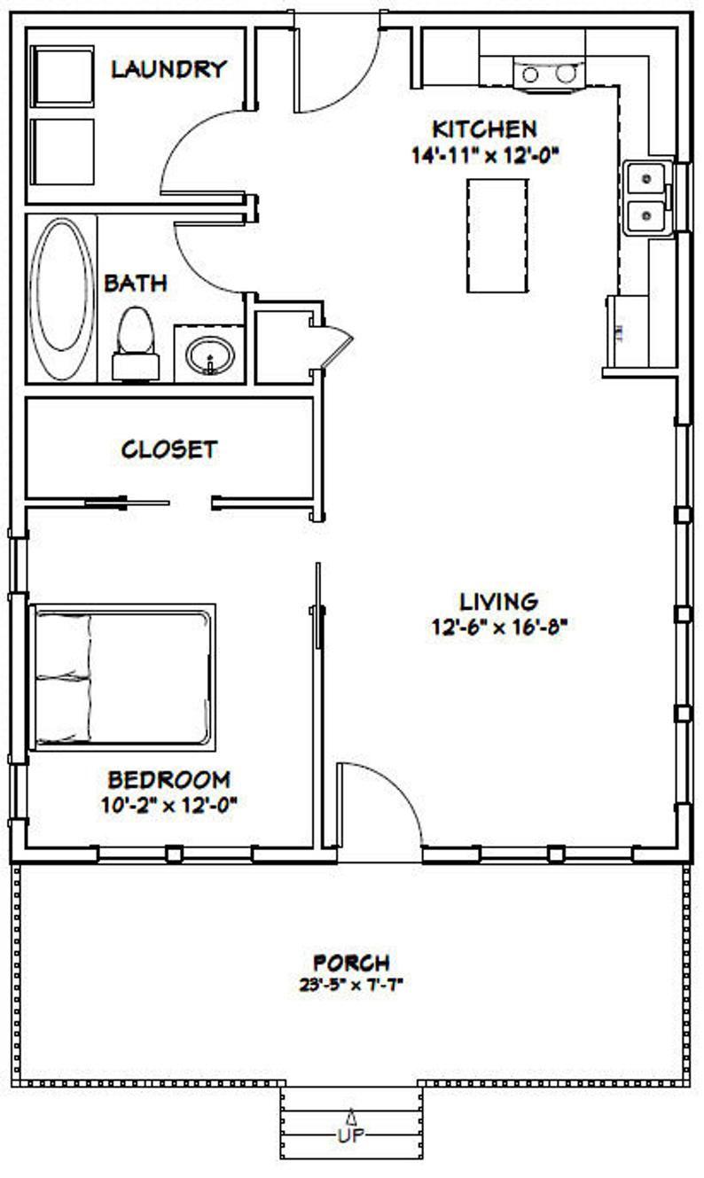 24x30 House 1 Bedroom 1 Bath 720 Sq Ft Pdf Floor Plan Instant Download Model 2d One Bedroom House One Bedroom House Plans 1 Bedroom House Plans