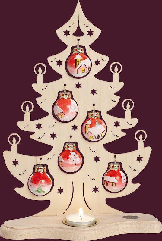 Leuchter Tannenbaum Mit Handbemalten Kugeln Laubsage Vorlagen Weihnachten Weihnachtsdeko Aus Holz Basteln Weihnachten Holz